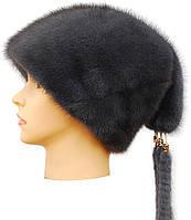 Зимова жіноча хутрова шапка з норки, Козачок2 (ірис), фото 2