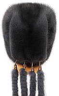 Зимова жіноча хутрова шапка з норки, Козачок2 (ірис), фото 3