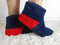 Теплые домашние сапожки для мужчин. Синие с красной пяткой. АРТ-1025.2