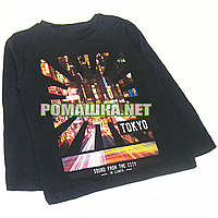 Детский реглан (футболка с длинным рукавом) р.104 для мальчика ткань 95% хлопок 5% вискоза 1070 Черный