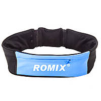Спортивный пояс-сумка L&XL с тремя карманами на молнии  ROMIX RH26-L&XL BL синий