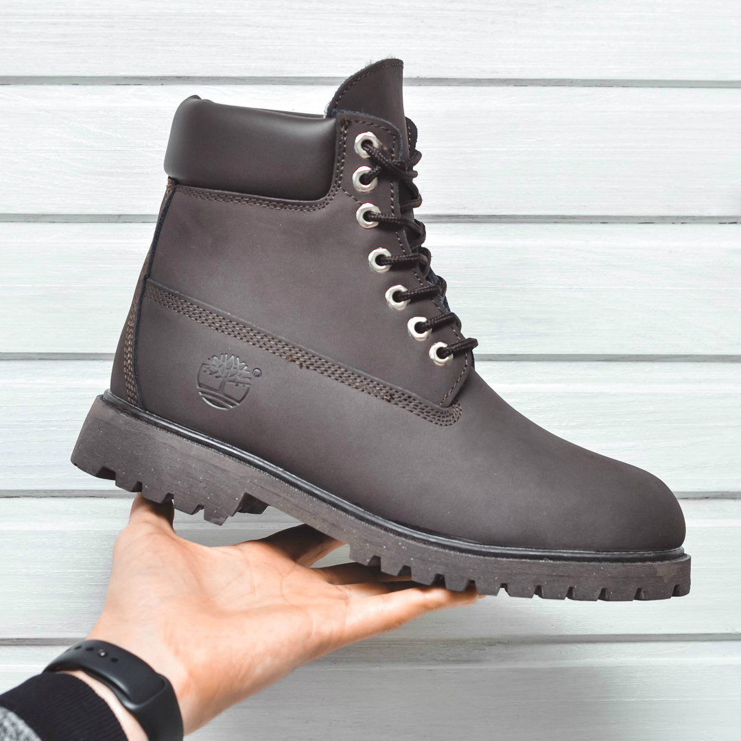 Ботинки Timbarland мужские зима (коричневые), ТОП-реплика