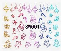 "Наклейки 3Д для ногтей 001 Новогодний дизайн  ""Beauty"""
