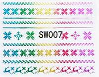 Наклейки 3Д для ногтей 007 Новогодний дизайн