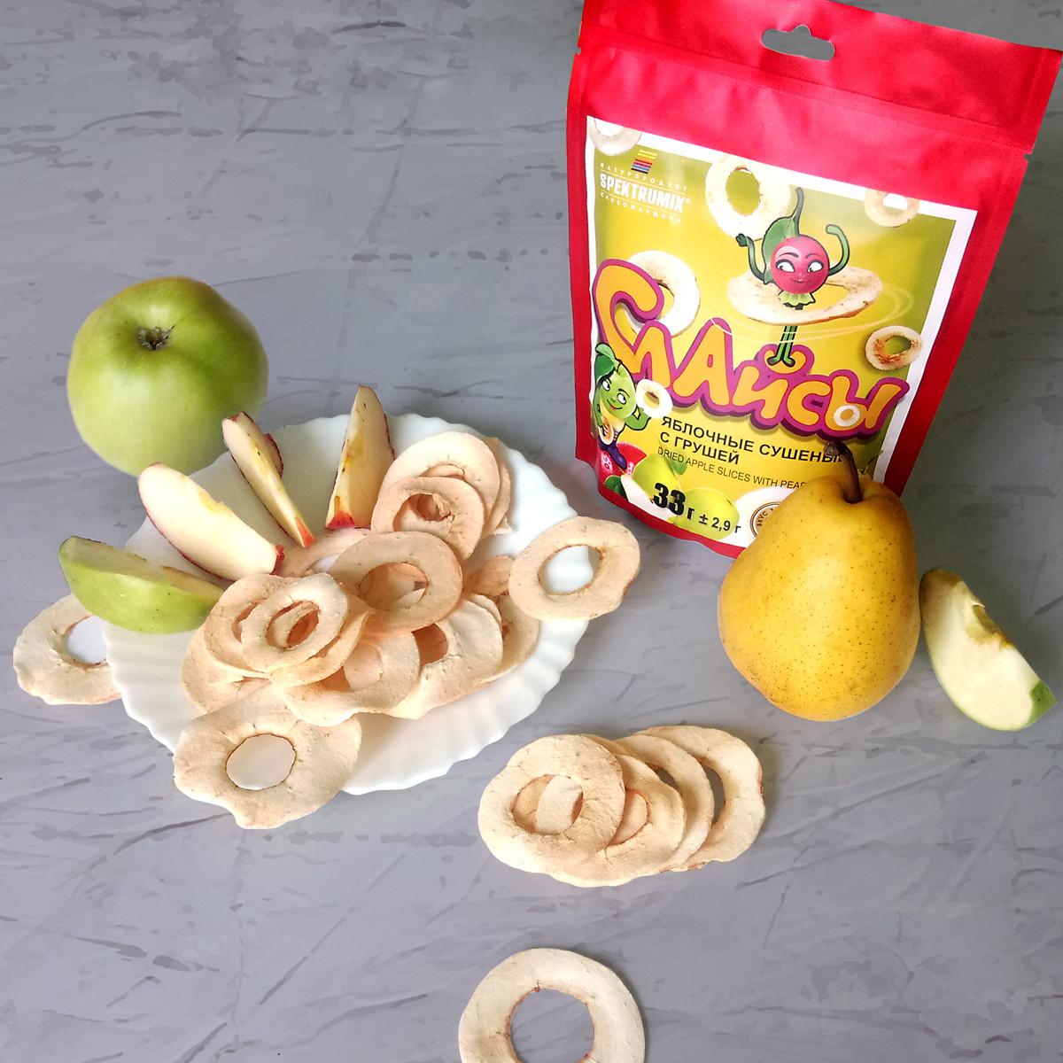"""Чипсы яблочные """"Слайсы яблочные сушеные (Груша) 33г, фото 1"""