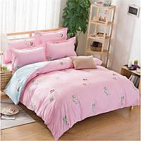 Полуторный комплект постельного белья Совы (розовый)