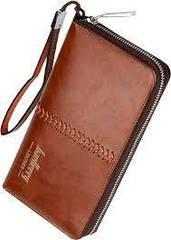 Мужское портмоне Baellerry Leather, кошелек Балери Лезер, клатч Балери качество!, реплика Коричневый