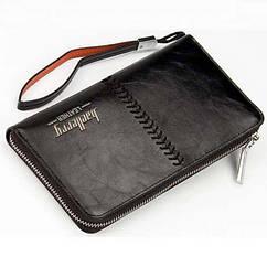 Мужское портмоне Baellerry Leather, кошелек Балери Лезер, клатч Балери качество!, реплика Черный