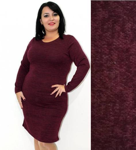 Теплое платье до колен из ангоры меланж бордовое большие размеры