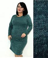 """Женское теплое платье из ангоры длинный рукав однотонное темно-зеленое """"Rondo"""": большие размеры 50, 52, 54"""