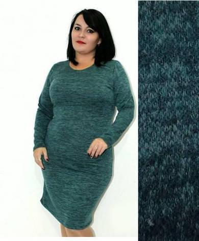 7c2a2a4a6dd Женское теплое платье из ангоры длинный рукав однотонное темно-зеленое