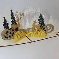 Рождественский лесной олень 3D Pop Up Поздравительная открытка Рождественские подарки Party Greeting Card Paper Carving Gift