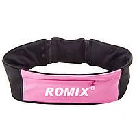 Спортивный пояс-сумка S&M с тремя карманами на молнии  ROMIX RH26-S&M P розовый