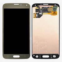 Дисплей (экран) для Samsung G900H Galaxy S5/G900F + с сенсором (тачскрином) золотистый Оригинал
