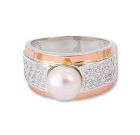 """Женское серебряное кольцо с золотыми пластинами """"з050к"""""""