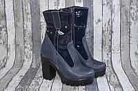 Кожаные зимние сапоги на каблуке, натуральная кожа, синие Viva