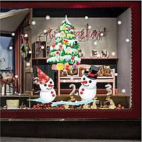 Рождественский магазин окно показывает белый снеговик цвет Рождественская елка стены стикеры