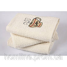 Полотенце кухонное Lotus вышивка Cup Coffee кремовое 40*60