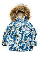 """Куртка зимняя для мальчика """"Буквы"""" из мембранной ткани Модный Карапуз 110"""