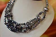 """Ожерелье из чешского стекла """"Стальные цепи"""""""