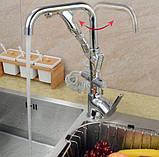 Смеситель кран однорычажный с лейкой на кухню для мойки раковины 0474, фото 2