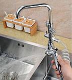 Смеситель кран однорычажный с лейкой на кухню для мойки раковины 0474, фото 7