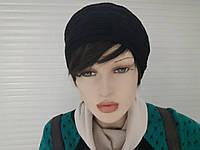 Хорошенькая шапка шапка-берет женская черная вязаная хорошего качества