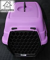 Пластиковая переноска для животных (черно-фиолетовая)