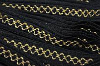 Тесьма акрил цепь 22мм (25м) черный+золото
