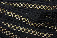 Тесьма акрил цепь 22мм (25м) черный+золото, фото 1