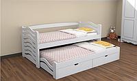 Кровать детская деревянная Мальвина из натурального Бука с дополнительным выдвижным спальным местом, фото 1