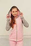 Женский теплый спортивный костюм New Style розовый с серым (130) код 123А