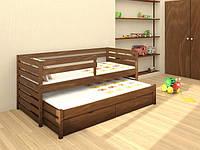 Кровать детская деревянная Симба из натурального Бука с дополнительным выдвижным спальным местом