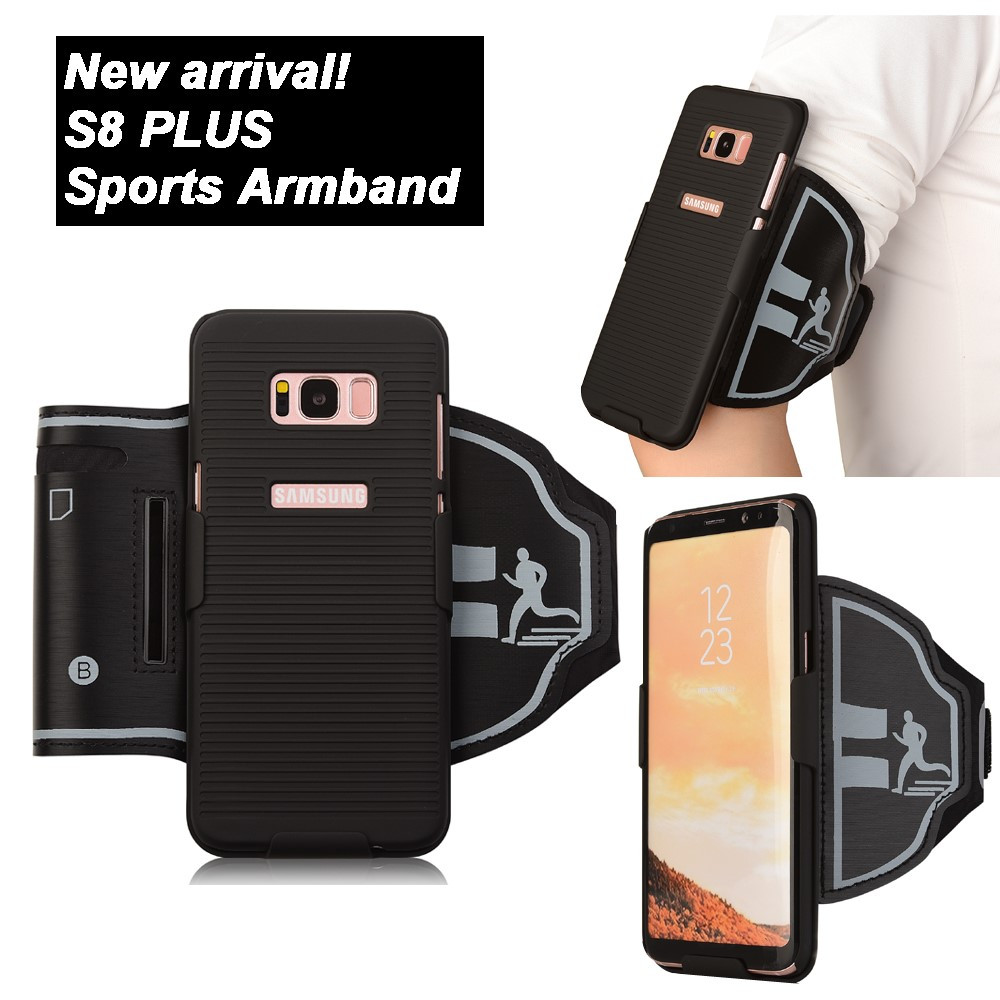 Чехол накладка для Samsung Galaxy S8 Plus G955 пластиковый с нейлоновой повязкой на руку, Sport, черный