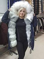 Модная парка с мехом арктической лисы в наличии 46-48 размер