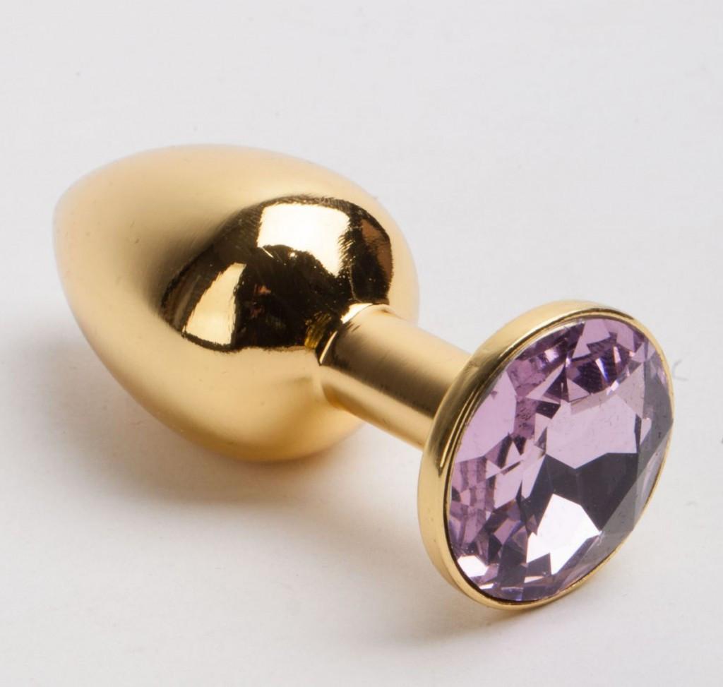 Анальная втулка,пробка золото с камнем + чехол.Сиреневая.