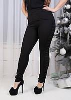 Черные женские леггинсы с декором по бокам