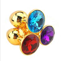 Анальная пробка золото ,пробка с кристаллом + чехол. Разные цвета.