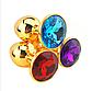 Золотая анальная пробка с фиолетовым кристаллом в чехле 2.8*7 см Металлическая., фото 2