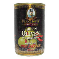 Оливки KAISER Green with Hot Pepper paste c перцем 300г