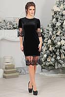 Элегантное черное бархатное женское платье
