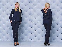 Костюм женский с брюками т-синий