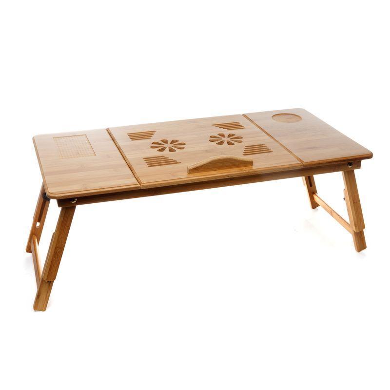 Столик для ноутбука в кровать бамбуковый с 2-мя вентиляторами складной
