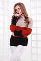 Вязаный модный свитер под горло