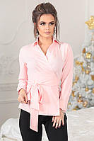 Женская стильная блузка на запах с поясом