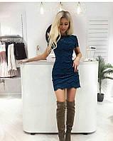 Платье футляр из кружева синего цвета