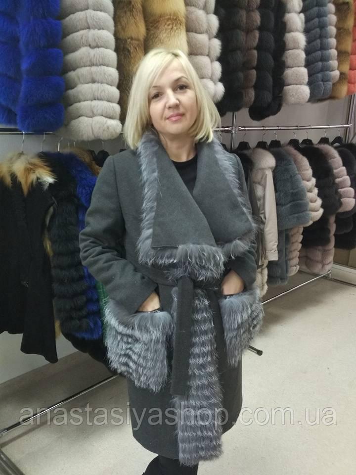 Новинка!! Эксклюзивное пальто с мехом чернобурки в наличии 46 размер