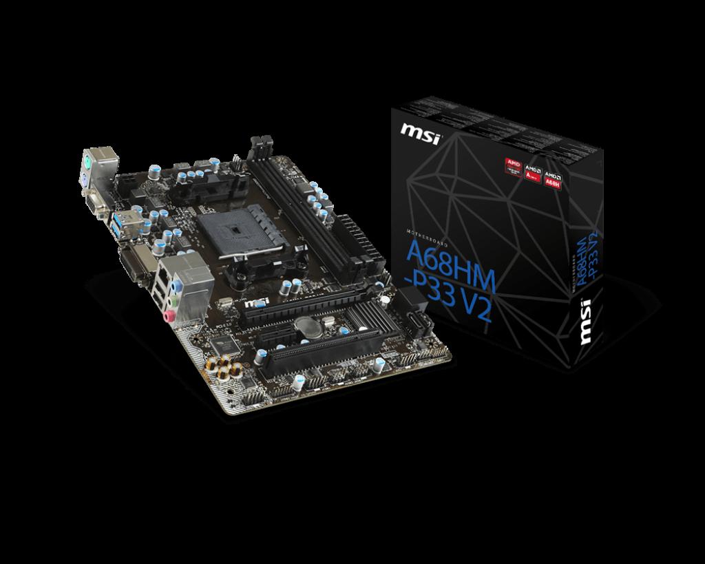 """Материнская плата MSI A68HM-P33 V2 FM2+ DDR3 """"Over-Stock"""""""