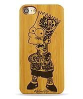 Деревянный чехол на Iphone 6/6s  с лазерной гравировкой Bart Simpson