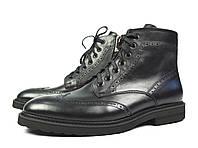 Черные зимние мужские кожаные ботинки-броги Paolo Gianni на меху (шерсть) 39-45